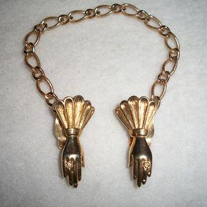 RARE Trifari VICTORIAN HANDS Earrings w/ Gaurd